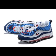 Cheap NIke Air Max 98 Men Shoes White Blue For Sale