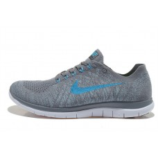 CHEAP NIKE FREE 4.0 FLYKNIT MEN RUNNING SHOES GREY BLUE FOR SALE
