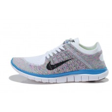 CHEAP NIKE FREE 4.0 FLYKNIT WOMEN RUNNING SHOES WHITE BLUE COLORS OUTLET