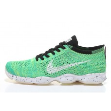 NIKE AIR ZOOM FIT AGILITY FLYKNIT WOMEN RUNNING SHOES BLACK WHITE GREEN SALE