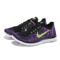 NIKE FREE 4.0 FLYKNIT WOMEN RUNNING SHOES BLACK PURPLE OUTLET SALE